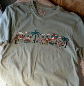 Mens Vans Tshirt Sz Large Beach Theme/Sage Green